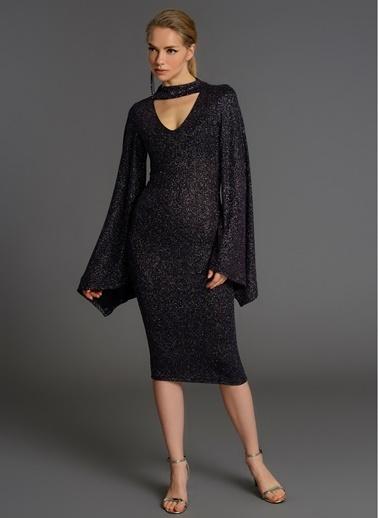 People By Fabrika Choker Detaylı Simli Elbise Mürdüm